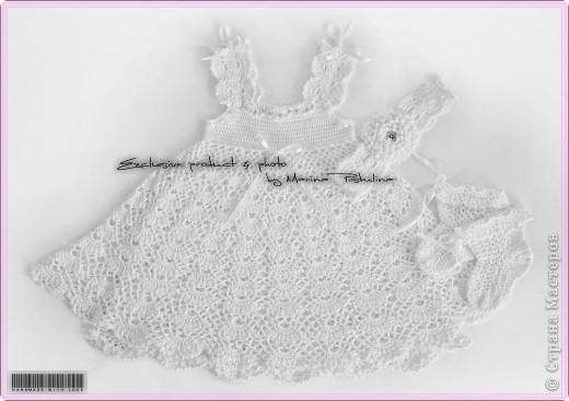 Комплект: платье с двойным подолом, повязочка на голову и носочки. Вязала под заказ для годовалой малышки. фото 1