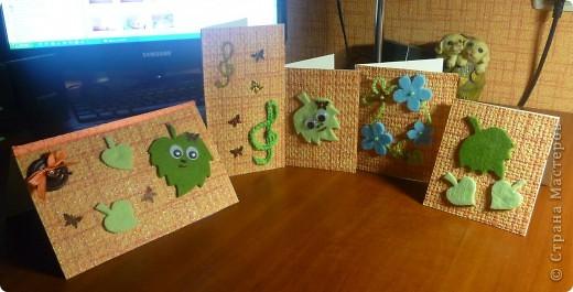 Скоро день учителя и сыну захотелось поздравить не только классного руководителя. Вот какие открытки на скорую руку и из того что было получились... фото 1