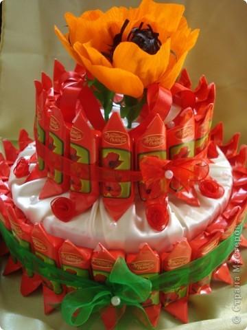 Мой первый сладкий торт, да и вообще первая работа в этой технике. Спасибо мастерицам за МК. фото 1