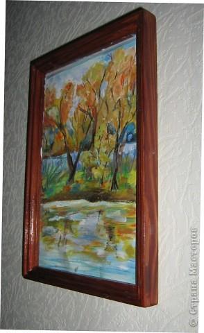 За окном осень, на носу (был) день учителя, как ни нарисовать картину в подарок!? Вот что получилось. Рисовала гуашью, немного доработала пастелью. фото 2
