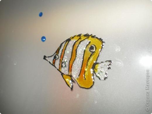 нишу в ванной комнатие закрыли стеклянными дверцами,  а снаружи расписала витражными красками фото 5