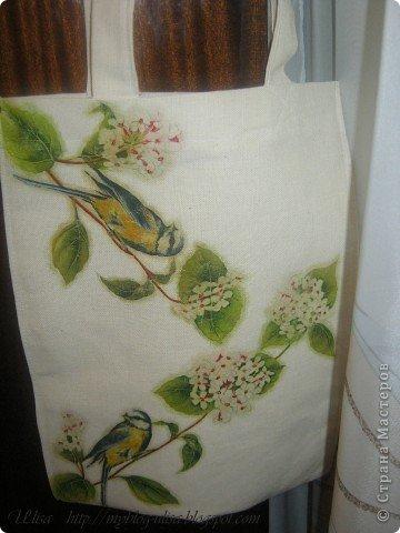 Декупаж на сумке (ткань двунитка). фото 3