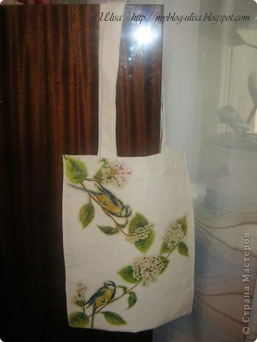 Декупаж на сумке (ткань двунитка). фото 1
