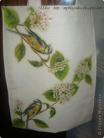 Декупаж на сумке (ткань двунитка). фото 2