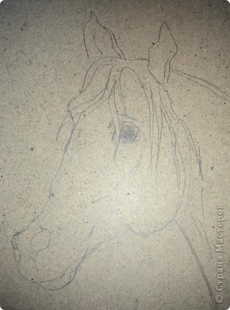 """Не знаю как получится, но попробую показать как мы делаем картины из ниток. Перед вами наша новая работа """"Рыжий конь"""". фото 2"""