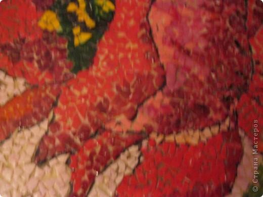Эти картины одни из  моих самых  трудоемких работ.За основу взяла ДВП нужного диаметра.Скорлупки нужно помыть,очистить от пленки и высушить.Далее все скорлупки в зависимости от рисунка окрасить  нужными  цветами.Для окраски я использую жидкий акрил,а так  же можно использовать любые быстросохн.краски. фото 5