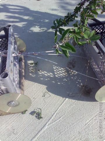 С фотографии и так понятно, что сделан он из ящиков из-под апельсинов-лимонов. Вместо колес использованы диски, но советую подобрать что-то иное. Коса диски просто треплет как бумагу когда травку вокруг косили.Он сейчас не в лучшем виде, но смысл  будет понятен. Я использовала 6 ящиков, высота значения не имеет. Ящики крашены внутри и снаружи. Сдесь сэкономить не получится, видно черные непрокрашеные места. Но на все ушел только один балончик.  Хотя можно и разноцветным делать, как у автора идеи. Там еще и рельсы проложено, но у нас  проложить целую дорогу не получилось. Вот смотрите сами :http://www.liveinternet.ru/users/lukomorje/post106728760/ Паровозик стоит на обрезках доски, а диски к сожалению только бутафория.  фото 5