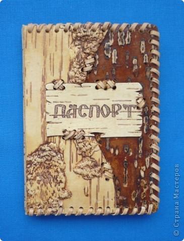 """Обложка для паспорта из бересты """"Рисунки природы"""" фото 1"""