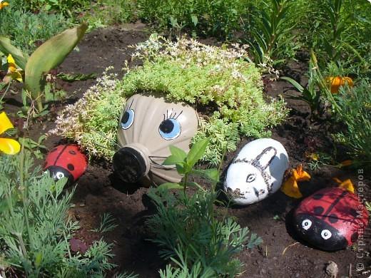 Мои жители в огороде.Ежик-5 литровая бутылка,и разрисованные камни. фото 1