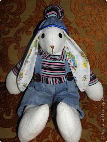 Всем доброго дня! У меня опять заяц.... Только он большой, около 50см. Все остальные у меня маленькие.... Дочка сказала, что это  заяц-рэпер.... фото 6