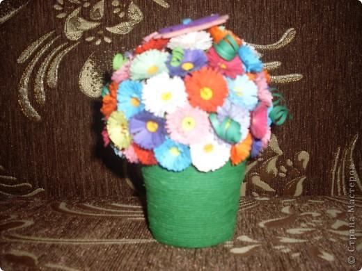 Поделка изделие Квиллинг Горшочек с цветами Бумага фото 3