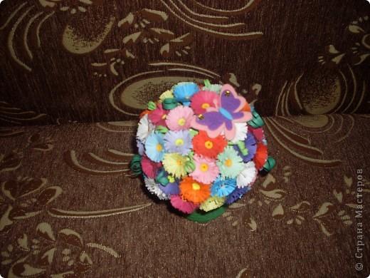 Поделка изделие Квиллинг Горшочек с цветами Бумага фото 2