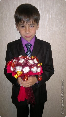 Сладкий букетик .Сын подарил учительнице на день учителя. фото 1