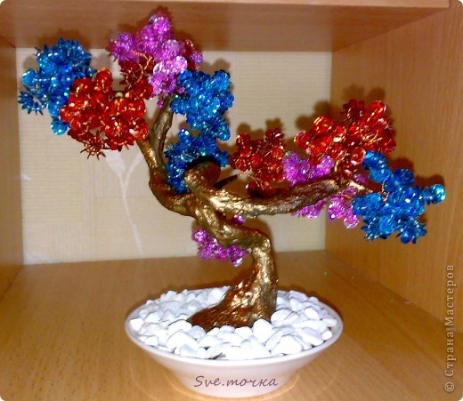 "Дерево из пайеток и бисера ""Буйство красок"" фото 1"