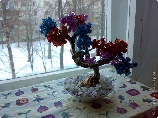"Дерево из пайеток и бисера ""Буйство красок"" фото 2"