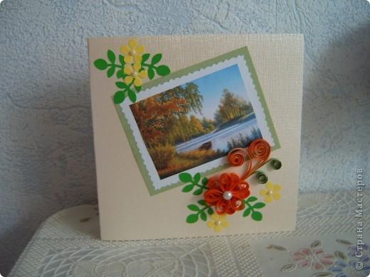 Вот такие открытки  сделаны были моим друзьям в Голландию. На этот раз я использовала интересные осенние пейзажи,в сочетании с квиллингом смотрятся очень красиво!!! фото 3