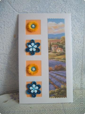 Вот такие открытки  сделаны были моим друзьям в Голландию. На этот раз я использовала интересные осенние пейзажи,в сочетании с квиллингом смотрятся очень красиво!!! фото 1