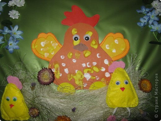 Эта картина делалась к празднику Пасхи, но до сих пор она украшает коридорчик в детском клубе фото 3
