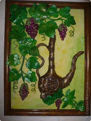 Спасибо за идею, Мэрисабэльке http://stranamasterov.ru/node/169563. Давно покоя не давал мне увиденный в её блоге кувшин с виноградом. фото 1
