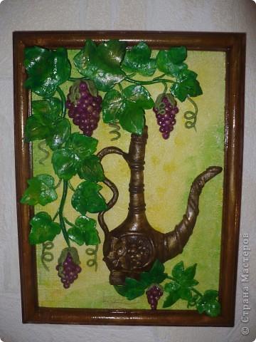 Спасибо за идею, Мэрисабэльке http://stranamasterov.ru/node/169563. Давно покоя не давал мне увиденный в её блоге кувшин с виноградом. фото 5