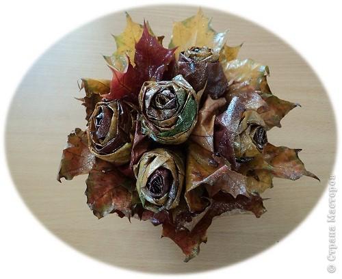 Накануне Дня Учителя с ребятами пробовали делать розы из кленовых листьев по Мастер-классу Т.Н.Просняковой http://stranamasterov.ru/node/2168 И вот подарки: этот букет роз от Марины Видяковой, 5 класс. фото 3