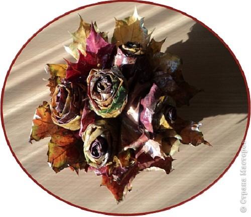 Поделка изделие Поздравление День учителя Моделирование конструирование Розы из кленовых листьев Листья фото 4