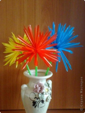 Случайно в магазине наткнулась на разноцветные трубочки. В голове сразу  возникли  тысяча идей!!! Но без цветов, ну ни как.Вот такие цветные астрочки  у меня получились.У синей самые длинные лепестки. фото 2
