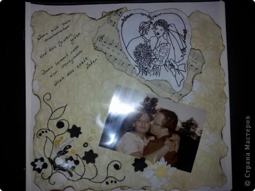 Делали альбом Саши брату на свадьбу с пожеланиями. Это был наш. Первая страница... фото 1