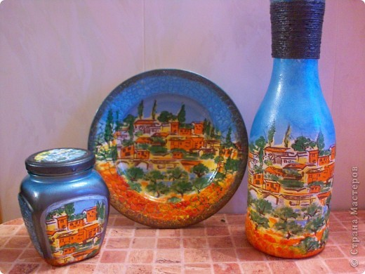 Попросили меня сделать красивую баночку, ну я и разошлась,наборчик забацала, вазу и тарелку на стену.))) фото 1