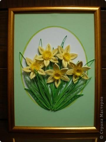 Благодарна всем мастерицам за работы с нарциссами...меня очень впечатлили эти нежные цветы...и накрутила вот такую композицию... фото 1