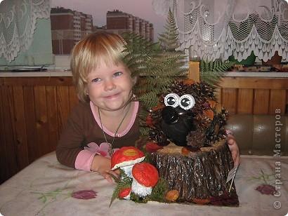 """Очень понравился ёжик увиденый на этом сайте, а тут как раз подруга попросила сделать что-нибудь из природного материла дочке в школу, вот так и получился """"Ёжик на пенёчке"""". фото 4"""
