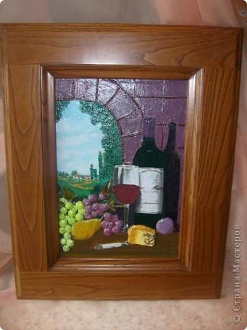 Выпуклость на арке, деревьях и фруктах, делала шпатлевкой, на фото плохо видно. Листья винограда, натуральные, правда не виноградные.