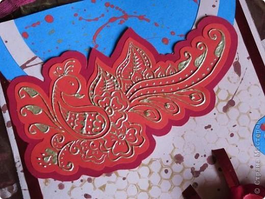 """Всем доброго времени суток!  Я очень люблю изображение павлинов особенно в стиле хна ,вот и получилась у меня вот такая открыточка  с """"павой"""".  Павлин выполнен золотым контуром.  фото 5"""