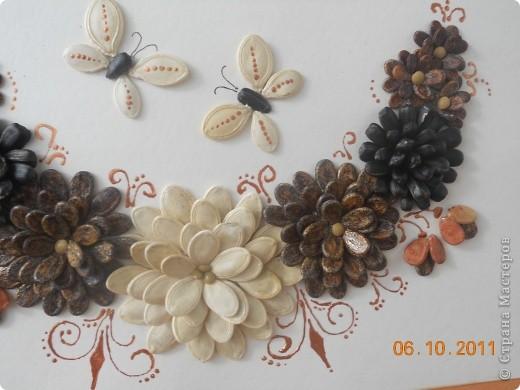 """Вот такое панно мы сделали с Полиной. Цветы из семян тыквы, арбуза и подсолнечника. Клеили на ПВА и на """"Мастер"""" для потолочной плитки. Украшали контуром """"бронза"""". Полина клеила цветы самостоятельно, я дорисовывала контуром и конечно изначально помогла с композицией.  фото 3"""