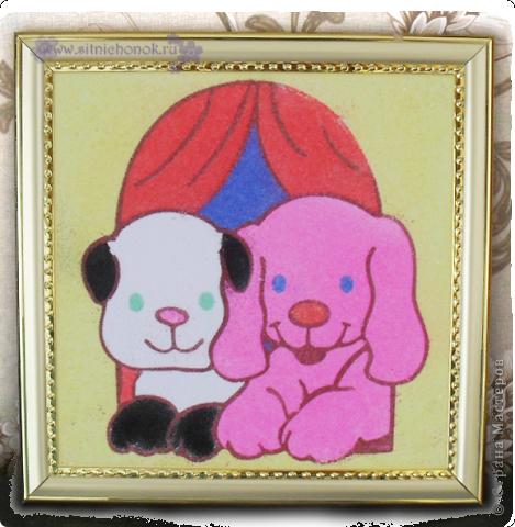 Сегодня Валерия (5 лет) сделала фреску из цветного песочка это собачки фото 1