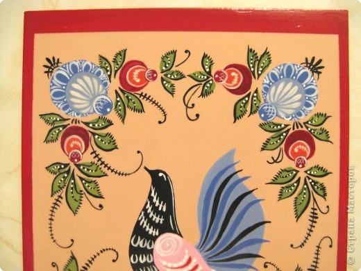 Когда начала собирать материалы по городецкой росписи , набрела на  МК Тамары на ТЕХНОМАГИИ. Рекомендую обязательно посмотреть и при желании повторить эту работу.  Очень просто и понятно Тамара делится своим мастерством.  Процесс работы оказался очень интересным и занимательным. Жаль только ,что никак не могу зайти там в эту темку и поблагодарить Тамару,  а также хотелось бы показать ей свою работу. Вот , что получилось у меня.  Ещё раз спасибо Тамаре и вам , посетители моего блога!  фото 2