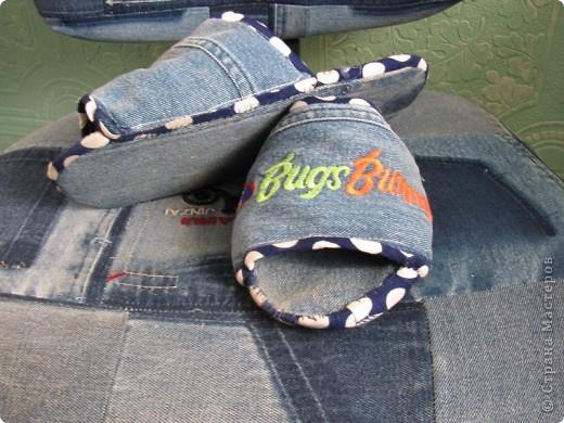 Вот решила преобразить стульчик из старых джинс фото 3