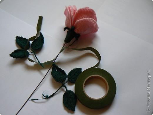 Мастер-класс Вязание крючком Делаем розу Нитки фото 8