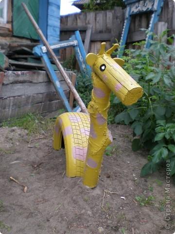 Зебра и жираф из покрышек фото 2