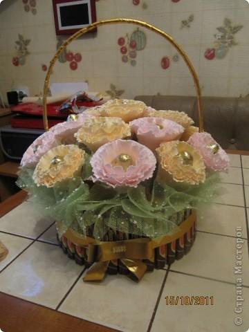 Корзинка с печеньем, конфетами и шоколадками. фото 1