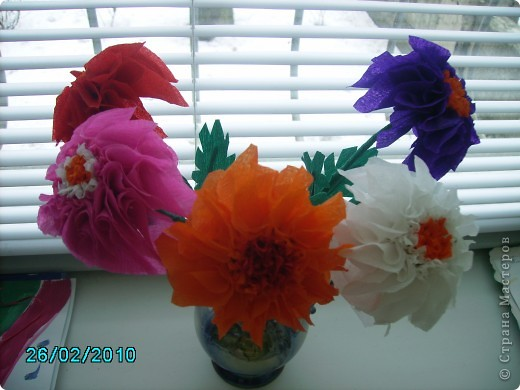 Спасибо Татьяне Просняковой за МК. Вот какие цветы у меня получились  фото 1