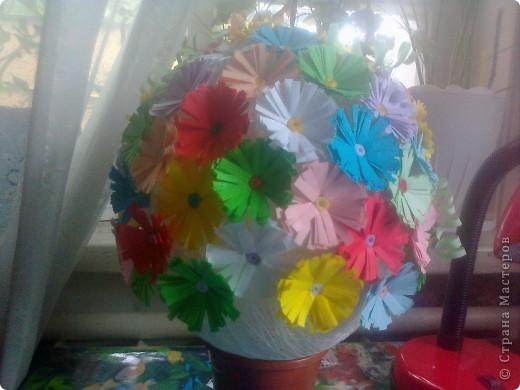 """Вот такую красоту я умею делать из клея,ниток и цветной двух.бумаги! Я назвала свою работу """" Цветы Жизни"""" фото 2"""