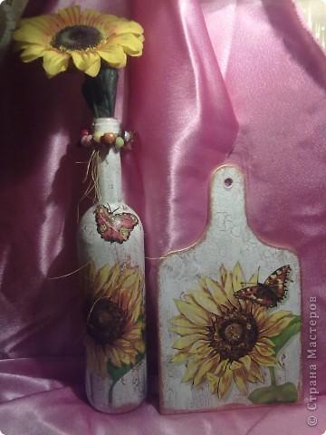 декупаж бутылки и досточки,а тарелка была раньше в моем блоге