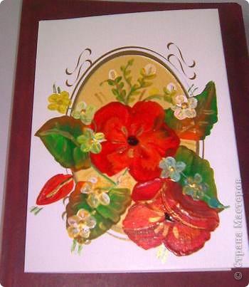 Открытка роспись на дизайнерском картоне акриловыми красками фото 2