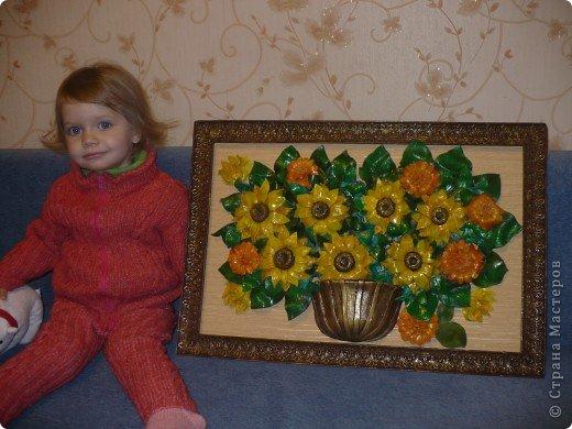 Подсолнухов много не бывает. В каждом доме должны быть подсолнухи и вот для себя любимой я сотворила картину, с размером правда переборщила, очень тяжёлая картина получилась...боюсь упадёт фото 3