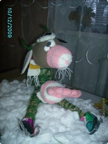 Корова на льду. Работа делалась на школьную выставку.  Корова сделана из соломы. основа из картона. Морда, голова, вымя - из носков. Шапочка и шарфик связаны крючком, а коньки из пластилина.   фото 2