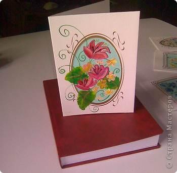 Открытка роспись на дизайнерском картоне акриловыми красками фото 3