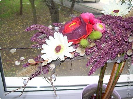 Сухоцветный топиарий с цветами из ХФ и многим другим.... фото 5