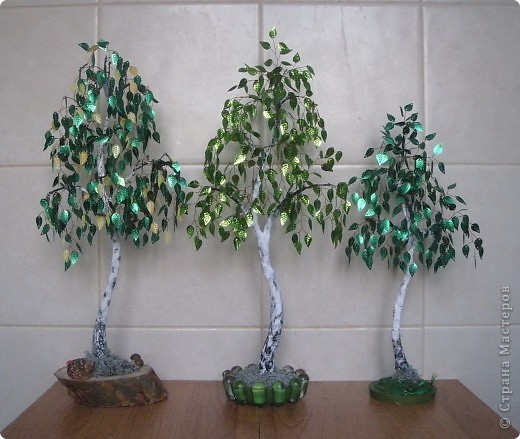 Деревья из паеток листиков