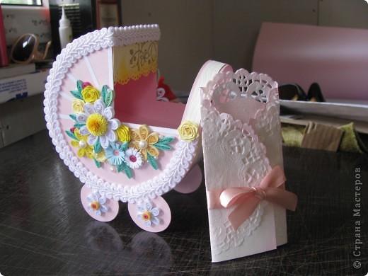 Всем доброго времени суток!У меня детская тема!Еще две вариации коляски.И известная форма открытки, декорированная на мой вкус.  коляска для родителей новорожденного мальчика фото 7